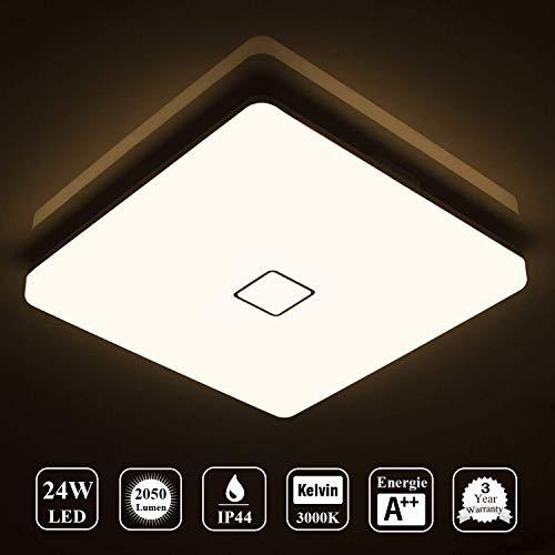 Öuesen LED 24W lámpara de techo resistente al agua moderna LED luz de techo Cuadrado delgada 2050lm Blanco natural 4000K para baño Dormitorio Cocina Sala de estar Comedor Balcón Pasillo