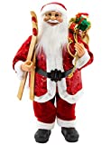 Weihnachtsmann Figur hochwertig 60cm mit Pailletten und Skier Deko Nikolaus Santa Claus Dekofigur Weihnachtsdeko detailreich