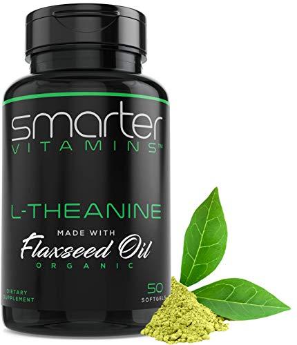 250 mg L-THEANINE, alerta calmante + enfoque en aceite de linaza orgánico, sin OMG y sin gluten, 50 cápsulas líquidas, antiestrés natural y calma L Theanine Pills