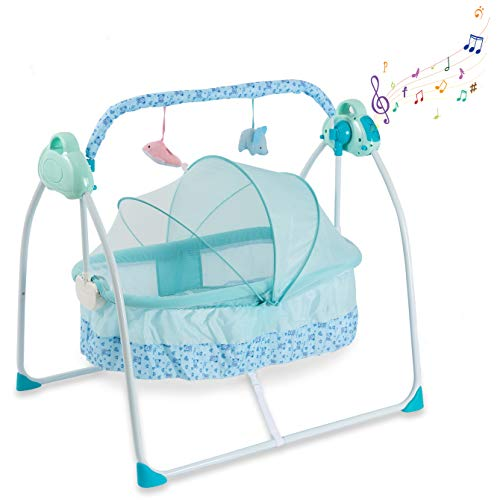 Baby Bassinet Crib Baby Bed - Newborn Baby Crib Portable Crib with Light and Music Box Rocking Sturdy Cradle - Bedside Sleeper - Foldaway Rocking Bassinet for Newborn Babies by Comfy Bumpy (Blue)