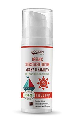 Crema solar de Wooden Spoon, factor de protección 50, 50 ml