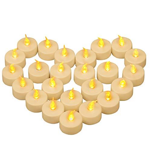 Yooyee LED Velas de Té Sin Llama 24 Piezas Luces de Té Parpadeo Amarillo Cálido Luz de Velas Eléctricas y LED con Batería para Decoración de Fiesta Bodas Halloween Navidad (Luz Amarillo ámbar)