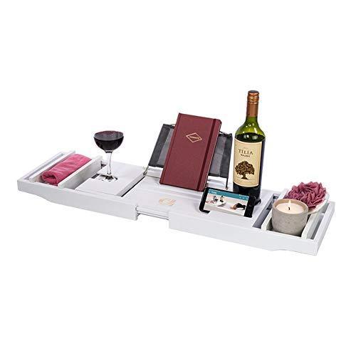 DONG Accessoires de Bain Plateau, Baignoire en Bambou Caddy Plateau pour Une Maison Spa Experience, pour Livre, Téléphone, Tablette, Porte-Verre à vin,Blanc