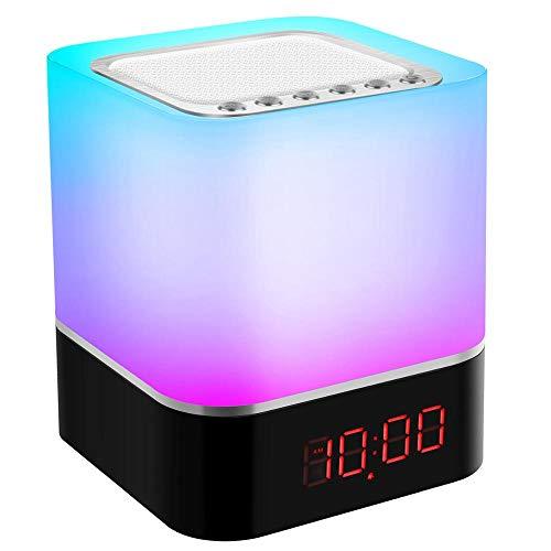 LILICEN Luz de Techo Luz de Noche táctil LED, lámpara de Altavoz Bluetooth, lámpara de cabecera de Altavoz inalámbrico portátil, lámpara de Mesa Recargable USB, Reloj Despertador Encendiendo