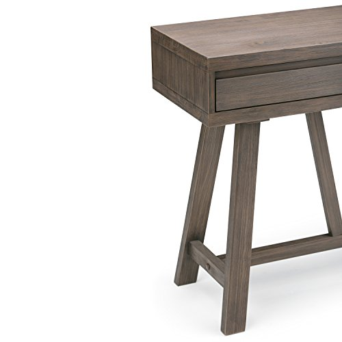 Simpli Home Dylan SOLID WOOD 48 inch Wide Modern Industrial Hallway Console Sofa Entryway Table in Driftwood , for the Living Room, Entryway and Bedroom