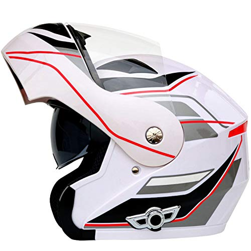 LVYE1 MRMF Bluetooth Integrado Modular Casco Moto Integral para Motocicleta, Personalidad Fresca Casco con Doble Visera para Motocicleta Cascos Modulares De Moto Aprobado por ECE Mujeres Hombres,C,L