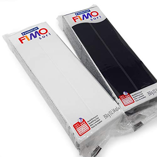 FIMO - Arcilla de polímero suave para modelar, 350 g, juego de arcilla para horno, color blanco y negro