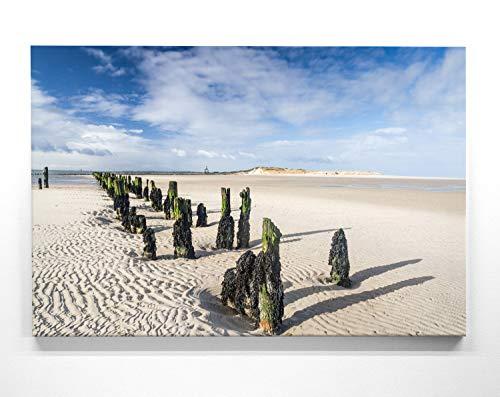 BilderKing Atemberaubendes Nordsee Leinwand-Bild 50x50cm, Motiv Strand Wangerooge. EIN einzigartiges Wandbild als Deko für Wohnzimmer, Schlafzimmer, Küche. Aufgespannt auf Holzrahmen