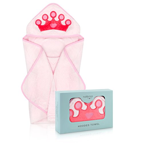 Product Image of the Natemia Princess Rayon from Bamboo Hooded Towel for Kids | Highly Absorbent,...