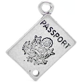Passaporto - Charming Beads Pacco 10 x Argento Antico Tibetano 18mm Ciondoli Pendente ZX05950
