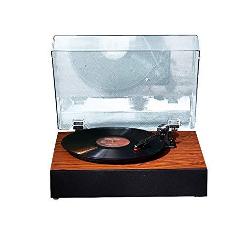 Yamyannie Tocadiscos de Vinilo Portátil Classic Gramophone Vinyl Record Player Fonógrafo Antiguo Fonógrafo Simple Ponente Incorporado para Casa (Color : Marrón, Size : 30x25x10cm)