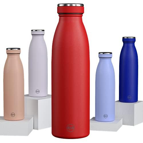 GH Botella de Agua acero Inoxidable 500ml Rojo Rubi | Frasco de Agua de Metal Reutilizable | Botella Termica Doble pared al vacío | Botella de bebida reutilizable Sin BPA, Antigoteo y Prueba d