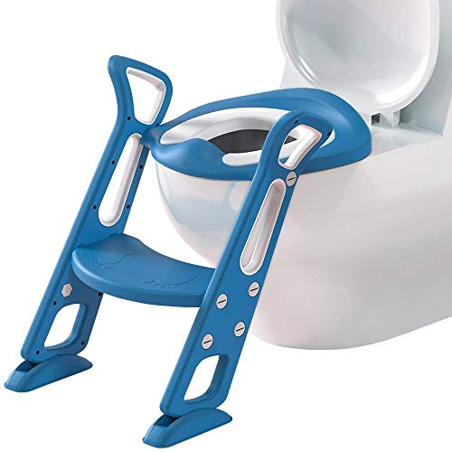 GOCART WITH G LOGO Adjustable Toilet Training Seat with Sturdy Non-Slip Wide Step and Soft Cushion for Baby (Lake Blue)