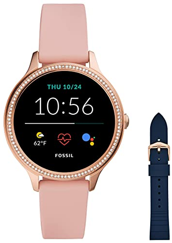 Fossil Damen Touchscreen Smartwatch 5E. Generation mit Lautsprecher, Herzfrequenz, GPS, NFC und Smartphone Benachrichtigungen + Fossil Watch Strap S181370