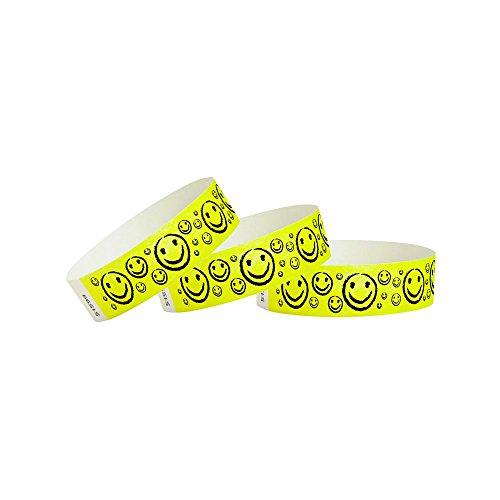 WristCo - Braccialetti in Tyvek con faccina sorridente, 3/4', confezione da 500 braccialetti in carta per eventi