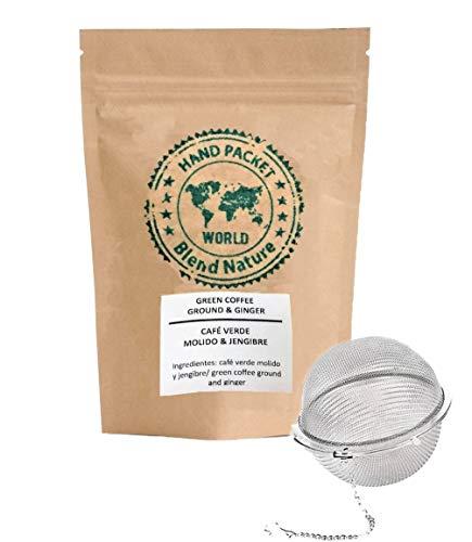 Café Verde en Grano Cortado para Infusión 100% Natural con Jengibre 500 g - Calidad Premium Arabica Colombia – Regalo Bola Colador Infusora de Acero Inoxidable