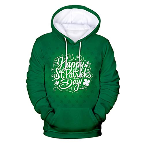Cuteelf St. Patricks Day St. Patricks Day Luck of The Irish Herren Hoodie und Kapuzenpullover für Männer Herren Herbst und Winter New Irish Festival Kreative 3D-Digitaldruck Hoodie