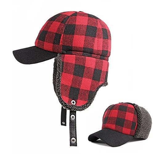 Tweed invierno cálido trampar sombrero para hombres oído Buffalo Elmer Fudd béisbol Bap piloto aviador esquí rojo