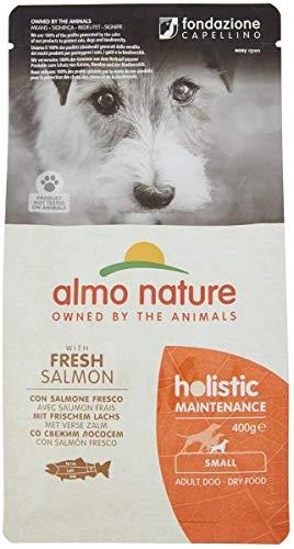 Almo Nature - Croquettes complètes pour Chien Adulte de Petite Race au Saumon Frais - 1 Paquet de 400 g