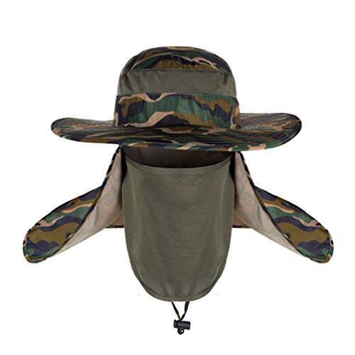 Belababy Camouflage Hat for Summer Outdoors Fishing Hiking Cap Removable Neck Flap and Face Cover