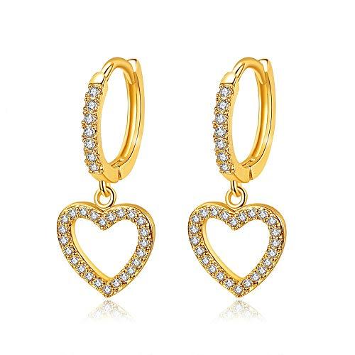 Pendientes de corazón chapado en oro de 22 quilates y diamantes de circonio