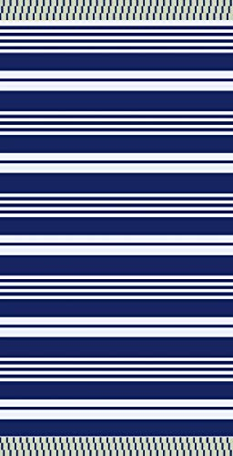 textil Tarrago strandhandduk fouta hamman platt 90 x 170 cm 100 % egyptisk bomull rallas blå FAC04
