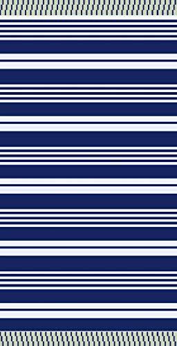 TEXTIL TARRAGO Toalla de Playa fouta hamman Flat 90x170 cm 100% Algodon Egipcio Rallas Azul FAC04