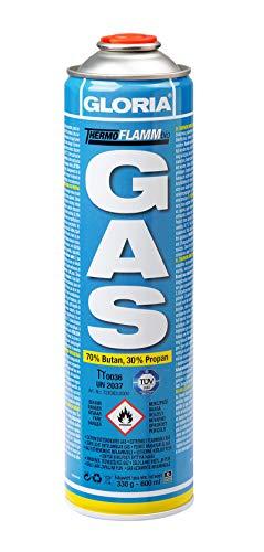GLORIA Thermoflamm bio Gaskartusche | bis 2 Stunden Brenndauer für Unkrautbrenner, Camping-Gaskocher & Gasbrenner | 70% Butan, 30% Propan | Universal-Druckgasdose [600 ml]