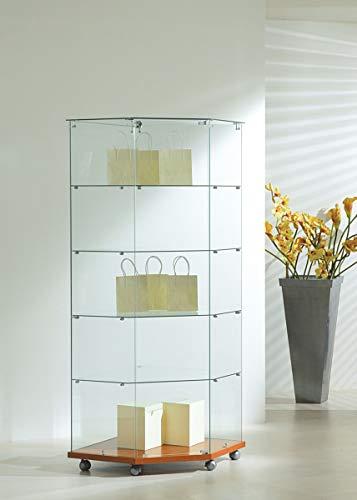 MHN Eckvitrine Glas abschließbar - große hohe Glasvitrine rollbar kirschbaum 68 x 40 cm