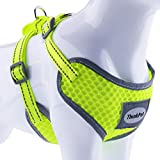 xl mesh harness - ThinkPet Reflective Breathable Soft Air Mesh No Pull Puppy Choke Free Over Head Vest Ventilation Harness for Puppy Small Medium Dogs and Cats Neon Green Neck 9-15 in/Chest 13-20 in