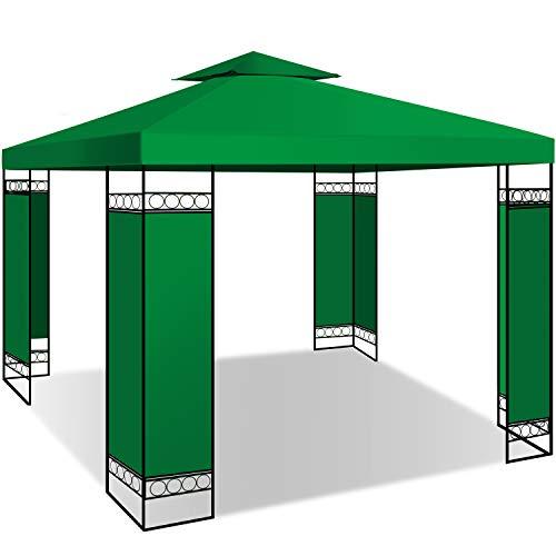 KESSER® - Pavillon 3x3m wasserabweisend UV-Schutz 50+ Metall Gestell Partyzelt Gartenzelt Luxus Gartenpavillon 9m² Festzelt, Grün