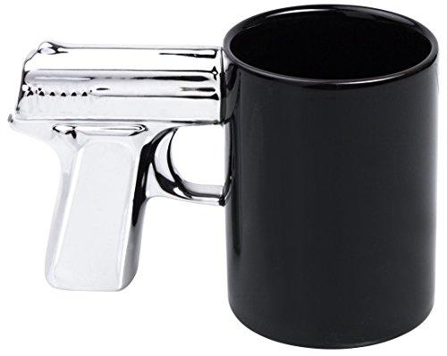 Grinscard Keramik Tasse mit Pistolen Henkel - Schwarz Spook Cup Design ca. 0,3l - Gadget Kaffeetasse zum Verschenken