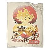 DRAGON VINES Manta de animación de película Super Saiyan Sunset suave y cómoda manta de lana ligera de lana apta para viajes y hogar playa de 150 x 200 cm manta de fuego y extintor