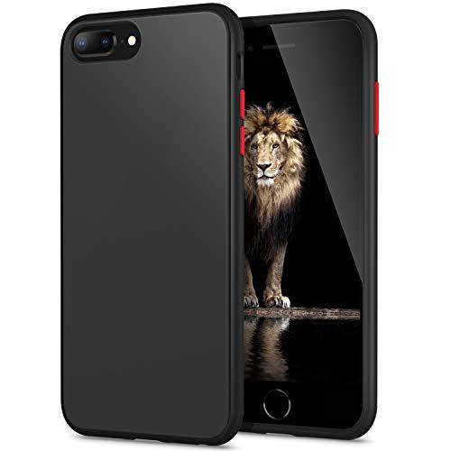YATWIN Funda para iPhone 8 Plus, Funda iPhone 7 Plus Transparente Mate Case, [Shockproof Style] TPU Bumper Rubber y Botones Coloridos, Carcasa Protectora para Funda iPhone 7/8 Plus - Negro Clasico