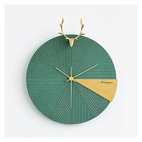 AWYST Relojes Salon Radio Wave Reloj de Pared Sala de Estar Reloj Moderno 16 Pulgadas Decorativo Reloj de Pared silencioso Sin tictac Fácil de Leer Home Reloj Reloj Cocina (Color : Green)