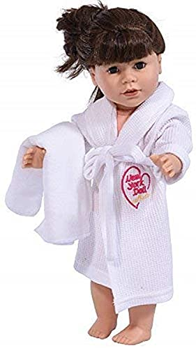 The New York Doll Collection 18 pulgadas / 46 cm Bata de Muñeca y Blanca Toalla Encaja Muñecas - Albornoz para Muñecas y Cinturón de Corbata Con Toalla, Blanca Albornoz de Muñeca