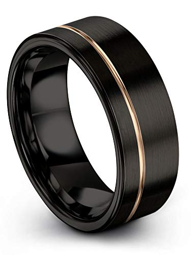Midnight Rose Collection Tungsten Wedding Band Ring 8mm for Men Women 18k Rose Gold Plated Flat Cut Off Set Line Black Brushed Polished Size 10.5