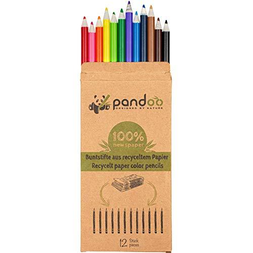 pandoo 12 Buntstifte aus recyceltem Zeitungspapier | Umweltfreundliche Buntstifte | 12 Stifte aus recyceltem Altpapier | Eco Color Pencils