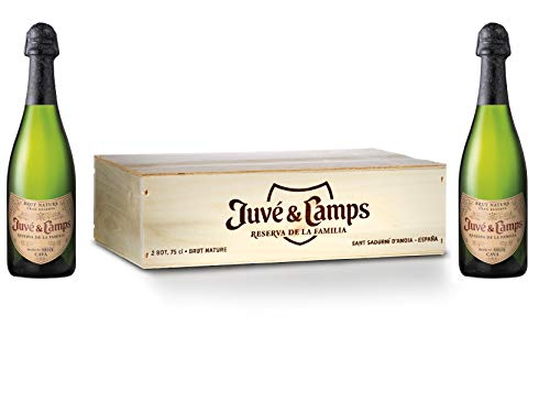 Juvé & Camps | Cava Gran Reserva Familia Brut Nature |  Caja de madera 2 botellas de 75 cl | Macabeu, Xarel·lo, Parellada