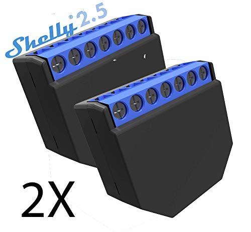 Shelly 2.5 Wireless Dual relé interruptor inteligente domótica, Amazon Alexa y Google Home 2 unidades