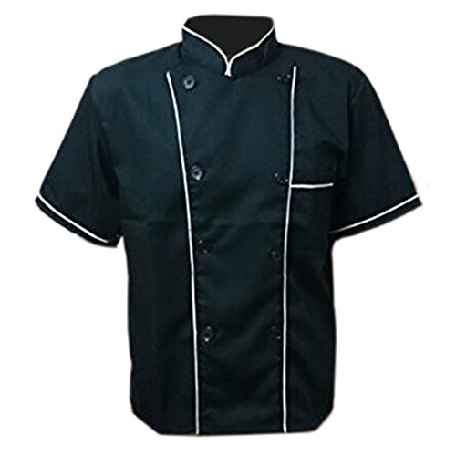 Erwachsene Männer Jungen Baumwolle Arbeitsanzug Arbeitsoveralls Kitchen Koch Kochen Ober Kellner Kellnerin Arbeit Kleidung Anzug Uniform kurzärmelig schwarz weißer Rand XXL