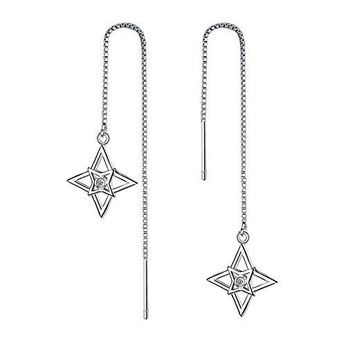 caolator Orecchini Donna di Moda del stelle lunga sezione Orecchini creoli per el accessori di gioielli matrimonio spezzato decorazione orecchini creoli–Argento