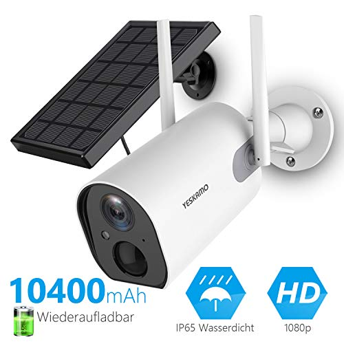 YESKAMO Überwachungskamera Aussen mit AKKU 10400mAhIP Kamera mit Solarpanel WLAN 1080P Camera für Heimüberwachung Zwei Wege Audio,Wasserdicht,Nachtsicht
