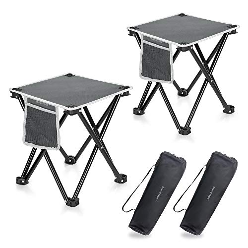 2 Pack Camping Stool, 13.8 Inch Portable Folding Stool for Outdoor Walking Hiking Fishing 400 LBS Capacity with Carry Bag
