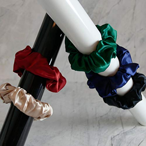 Grote, elegante haarband van 100% zijde - 22 Momme | Scrunchie | STANDARD 100 van OEKO-TEX® | Diverse kleuren (Nachtgroen)
