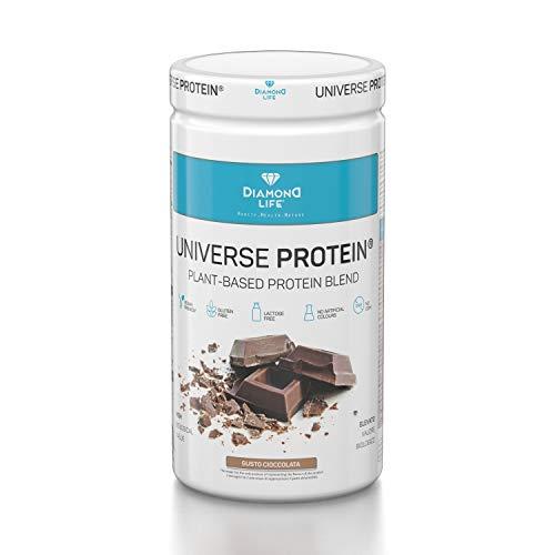 UNIVERSE PROTEIN - Miscela di proteine 100% vegetale 500g - Gusto cioccolato - Gluten free, Senza lattosio, Senza ogm, Senza coloranti artificiali, Vegano - Diamond Life