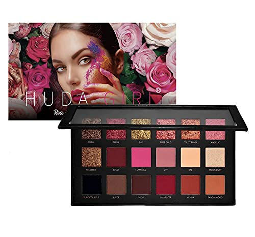 HUDA GIRL Rose Gold Remastered Edition 18 Color Eyeshadow Palette Matte and Shimmer Eyeshadow