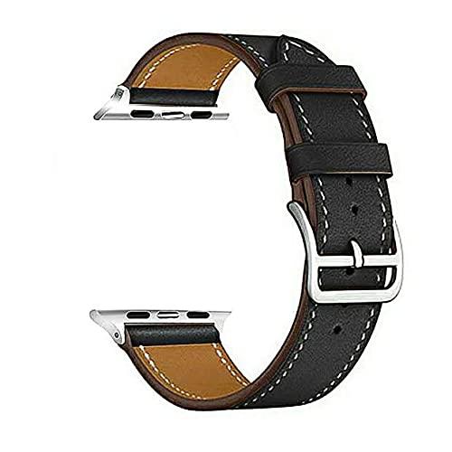Correa Piel Reloj Banda de Reloj de Cuero 40mm 44mm Correa de Pulsera Correa Reloj (Band Color : Black)