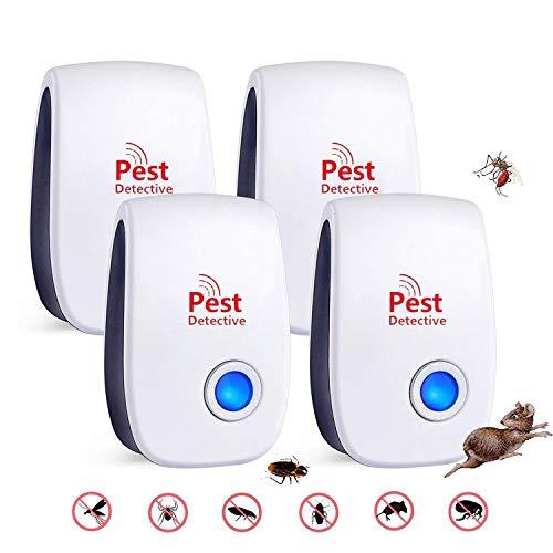 WARDBES Ultraschall Schädlingsbekämpfer(4 Stück),2020 Pest Repeller, Elektronische Insektenschutzmittel & Innenräumen Pest Control Repeller für Kakerlaken, Mäuse, Fliegen, Mücken
