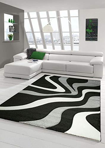 Salon Designer Tapis contemporain Tapis moquette avec motif de vague de coupe de contour Noir Gris Blanc Größe 120x170 cm